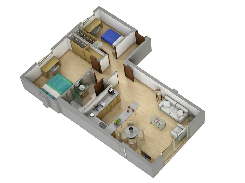 Plano de corte 3D: Casas de estilo  de Realistic-design