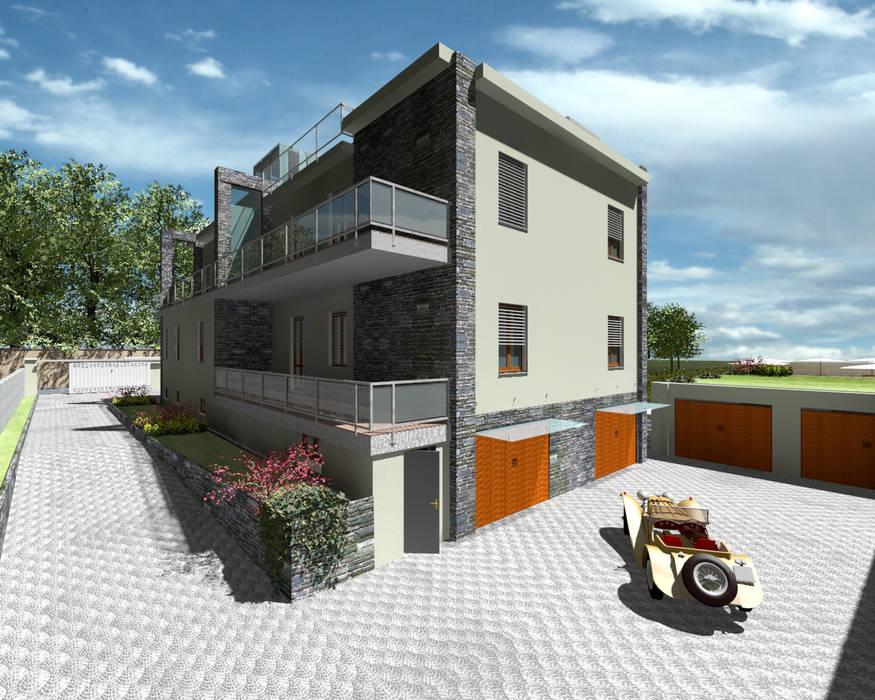 Perspectiva Estacionamiento: Casas de estilo minimalista de CADOT