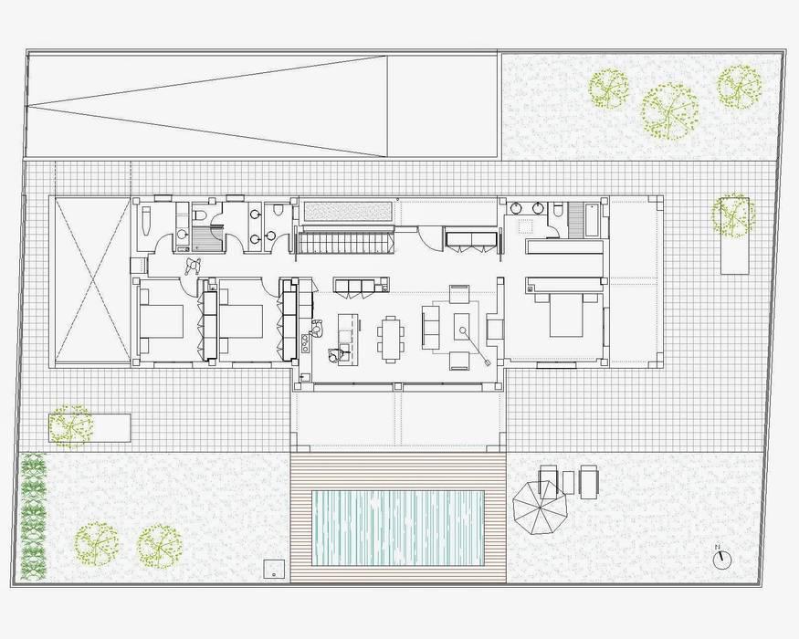 DISTRIBUCIÓN PLANTA BAJA de NUÑO ARQUITECTURA Moderno