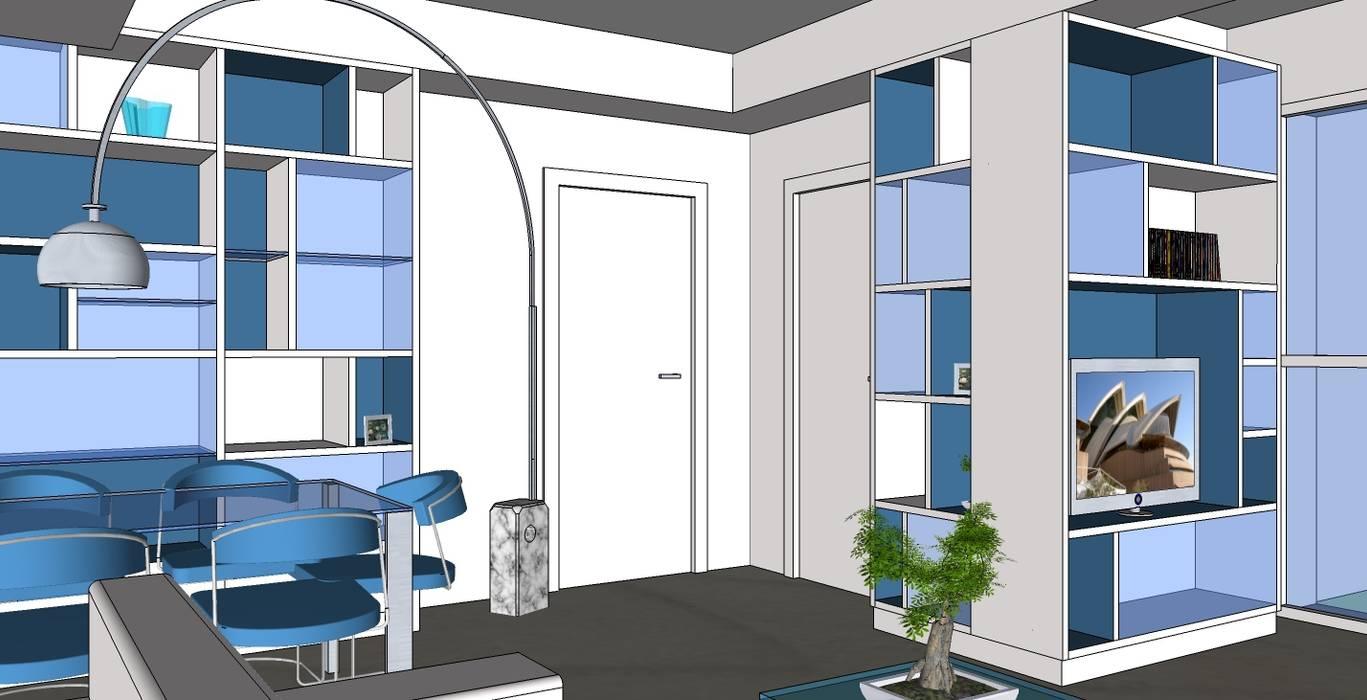 """""""Two colours"""" Soggiorno moderno di Studio Architetto Daniele Agostinelli Moderno"""