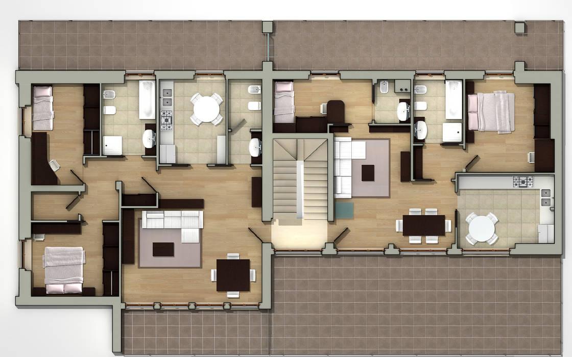Planta Piso 1: Casas de estilo minimalista de CADOT