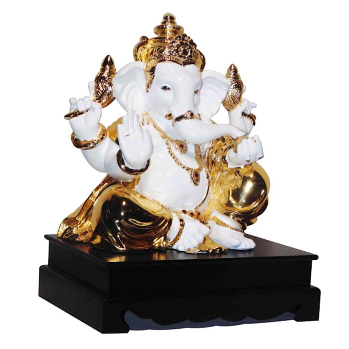Jeweled Ganesha Statue/ Indian Hindu God Occasion Gifts / No Fear Gesture/ Polystone Sculpture/ Religious Idols Online/ Home Decor Figurine M4design ArtworkSculptures
