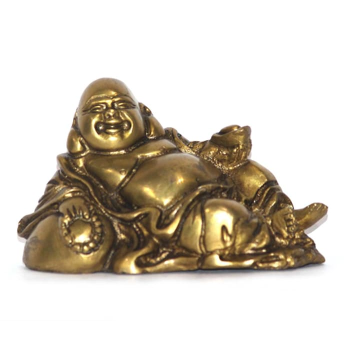 Antique Finish Laughing Buddha Statue / Feng Shui Gift / Brass Metal Sculpture/ Good Luck Charm / God Of Money/ Chinese Folkloric Deity M4design ArtworkSculptures
