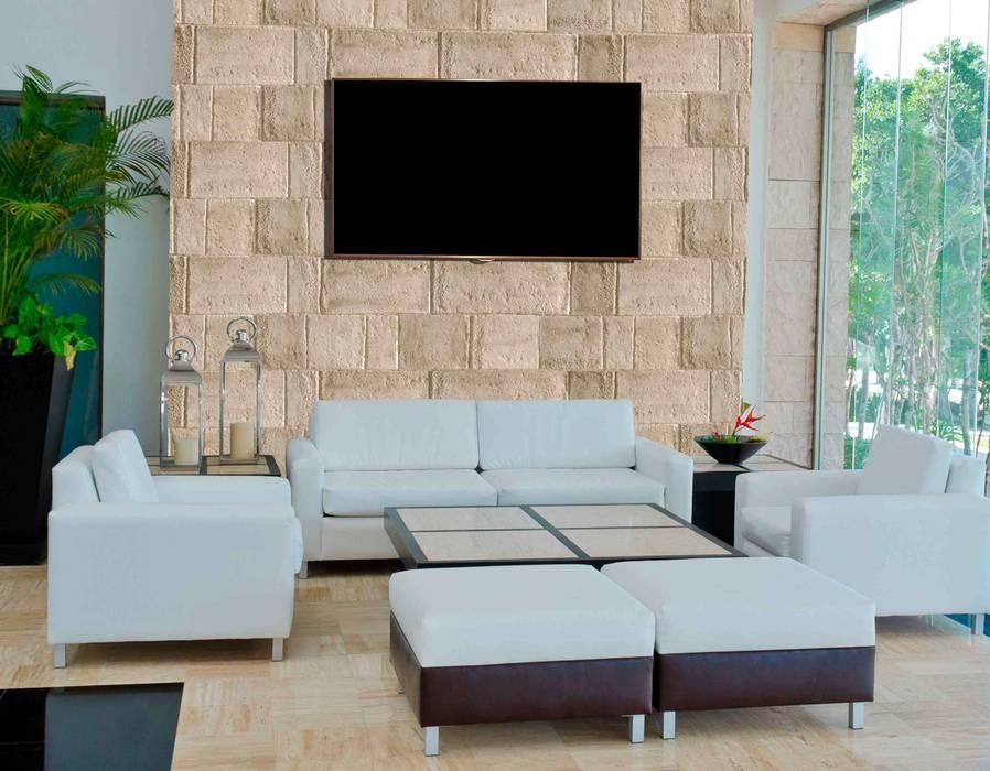 Piedra Muro Paredes y pisos de estilo moderno de homify Moderno Aglomerado