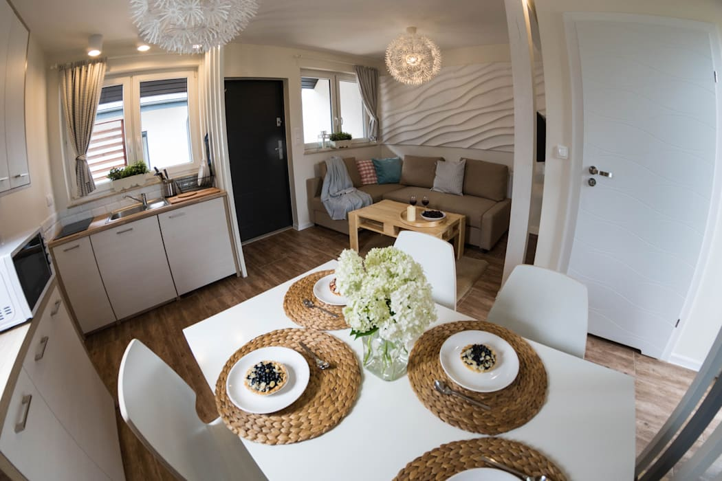 Domek - powietrze: styl , w kategorii Hotele zaprojektowany przez Ewa Weber - Pracownia Projektowa,Skandynawski