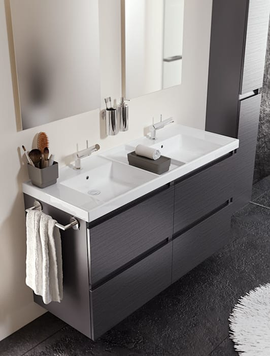 mueble pizarra con lavabo de resina con dos senos y cuatro