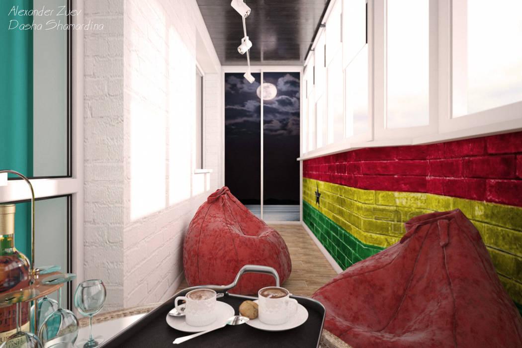 """Дизайн балкона в современном стиле в ЖК """"Янтарный"""" Студия интерьерного дизайна happy.design Балкон и терраса в стиле модерн"""