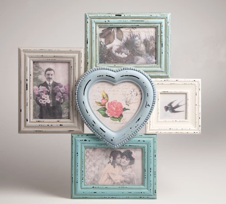 Antic Shabby Chic Wooden Multi Photo Frame in Pastel Colours - Distressed Look par Vintagist.com Scandinave