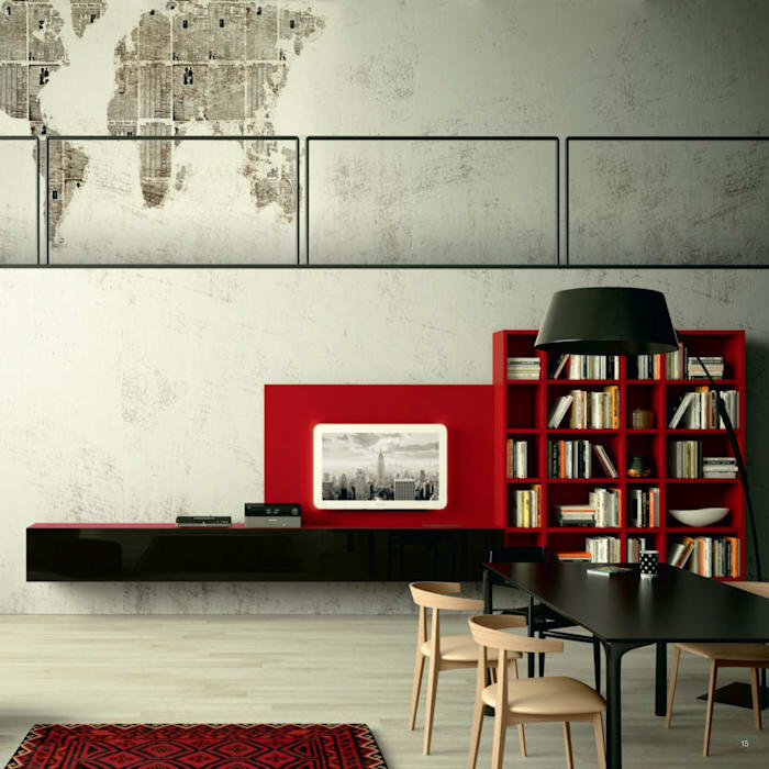 Cherry Wall Mounted Tv Unit With Library By Morassutti Living Room