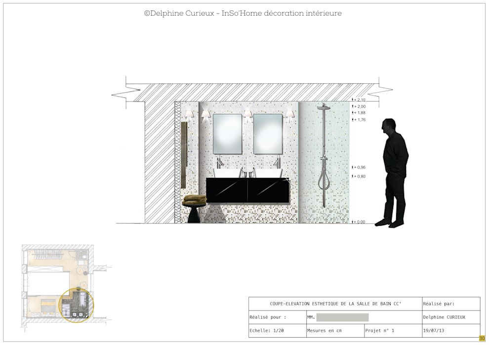 Elévation salle de bain Salle de bain moderne par INSO'HOME Décoration Intérieure Moderne