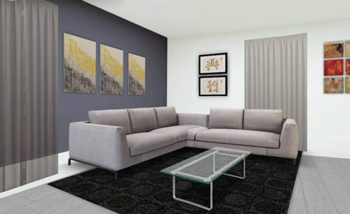 Plan 3D aménagement salon: Maisons de style  par Adriana Art Déco
