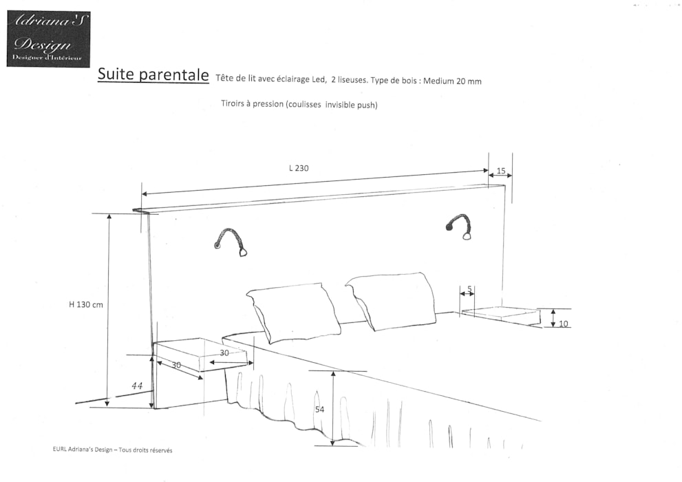 Plan Tête de lit : Chambre de style  par Adriana Art Déco