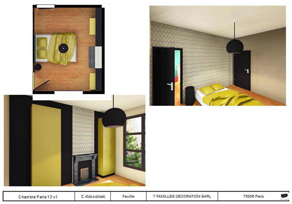 chambre avec aménagement de  placard: Chambre de style de style eclectique par cecile kokocinski