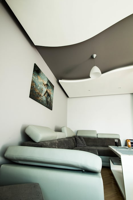 Nowoczesny salon w Chrzanowie - projekt i wykonanie www.twindesign.pl: styl , w kategorii Salon zaprojektowany przez Twindesign  - Kompleksowe Usługi Budowlane