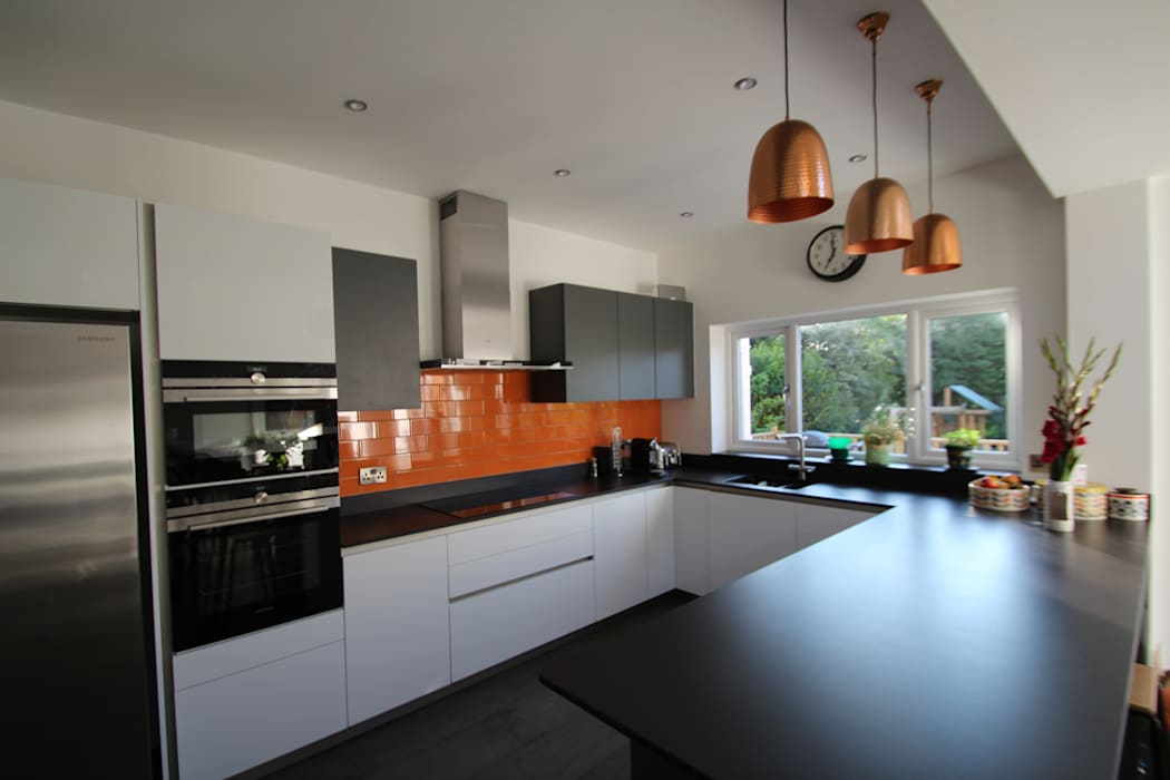 White and grey Schuller units with solid black Dekton worktops (by Cosentino) Modern Kitchen by AD3 Design Limited Modern