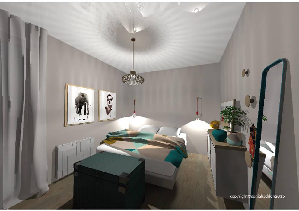 CHAMBRE: Chambre de style de style Moderne par Sonia HADDON Interior Designer