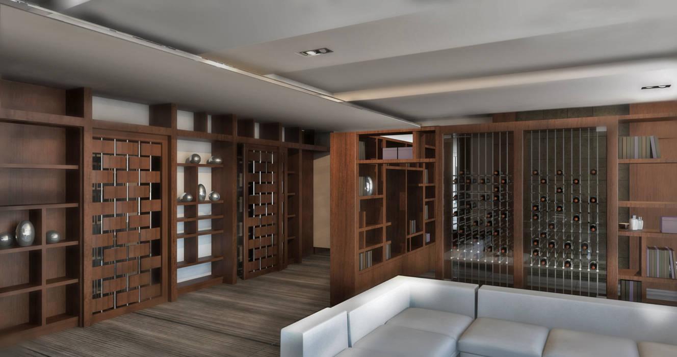 Render Sala y Estudio: Salas de estilo  por ArquitectosERRE,