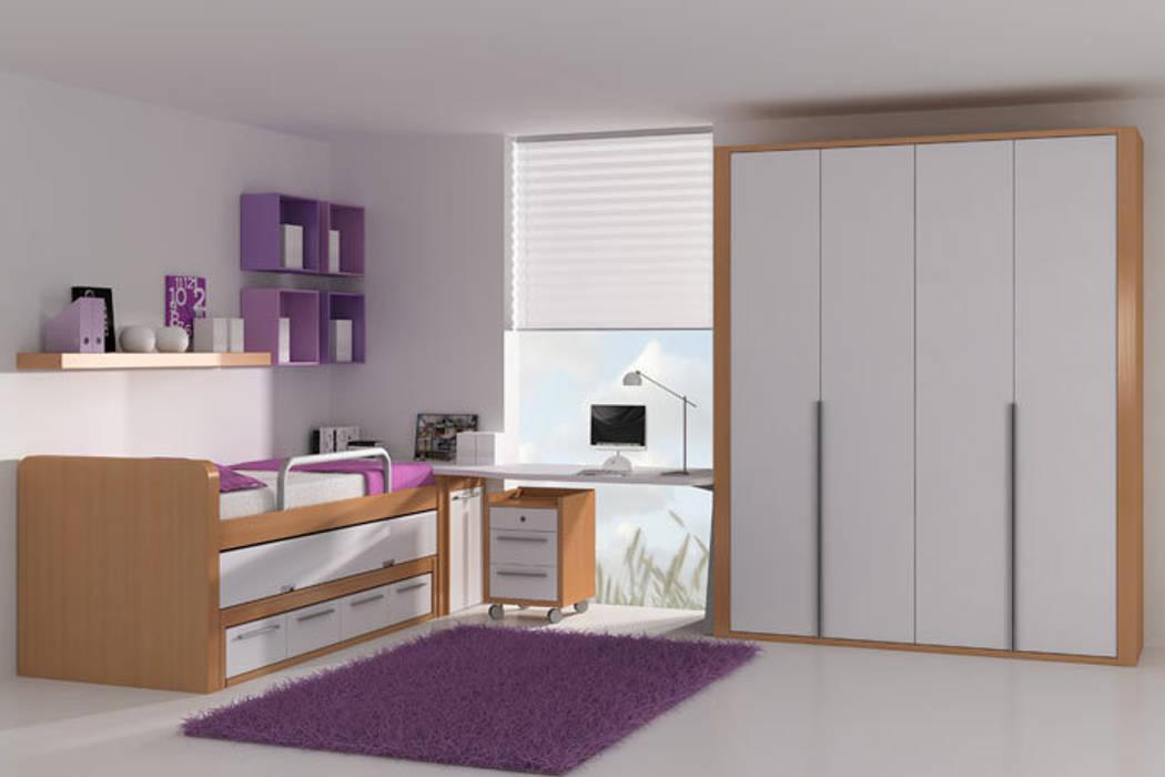 Cama elevada con cama nido extraíble y cajones inferiores Sofás Camas Cruces Habitaciones de niñas