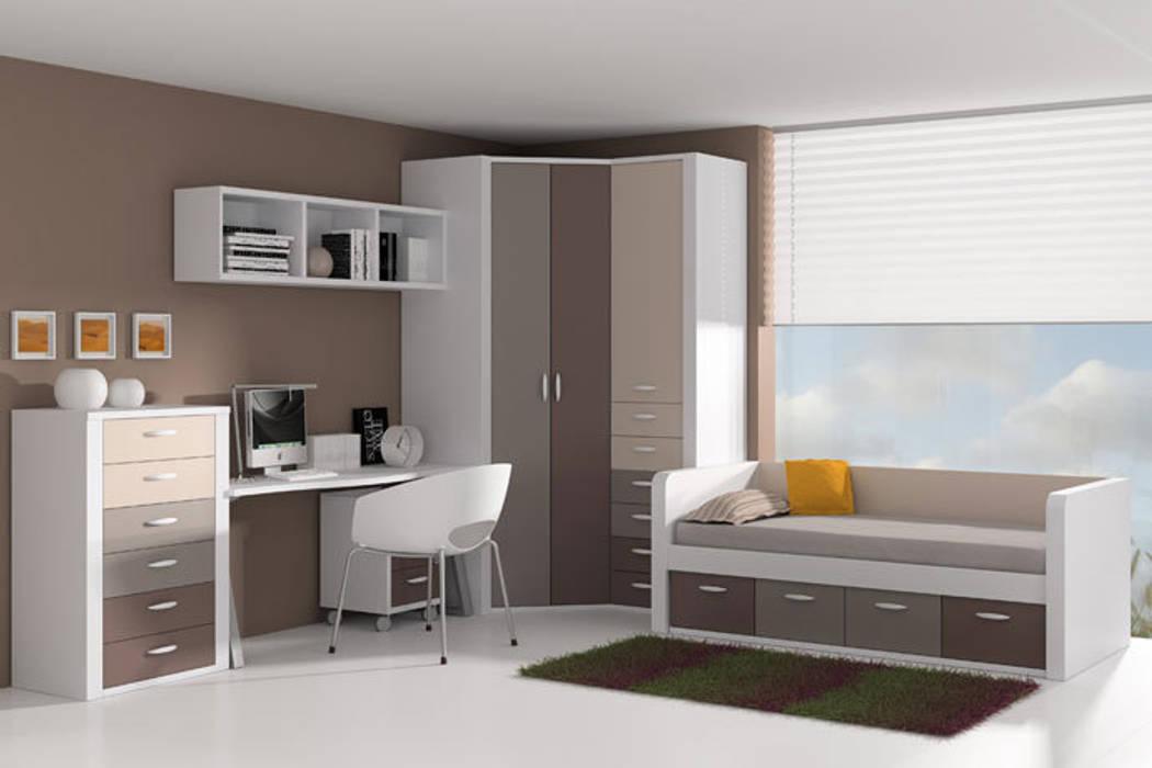 Cama nido con frisos y cajones inferiores Dormitorios infantiles de estilo moderno de Sofás Camas Cruces Moderno