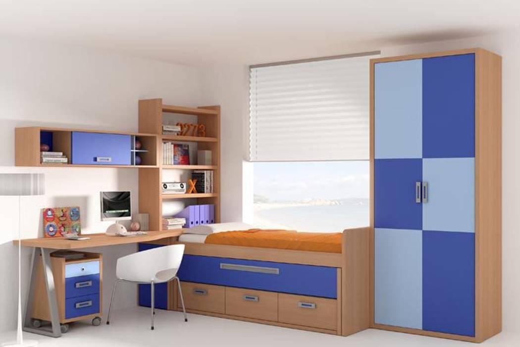 Dormitorio con cama nido, somier extraíble y cajones de Sofás Camas Cruces Moderno