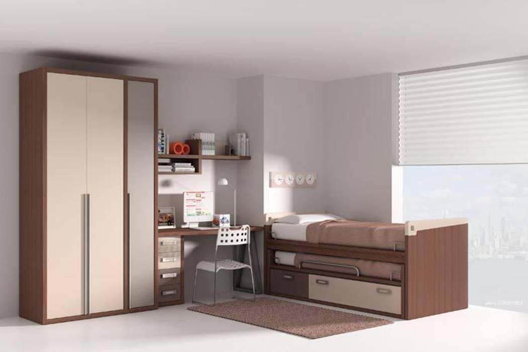 Dormitorio con cama nido, somier inferior y cajones Dormitorios infantiles de estilo moderno de Sofás Camas Cruces Moderno