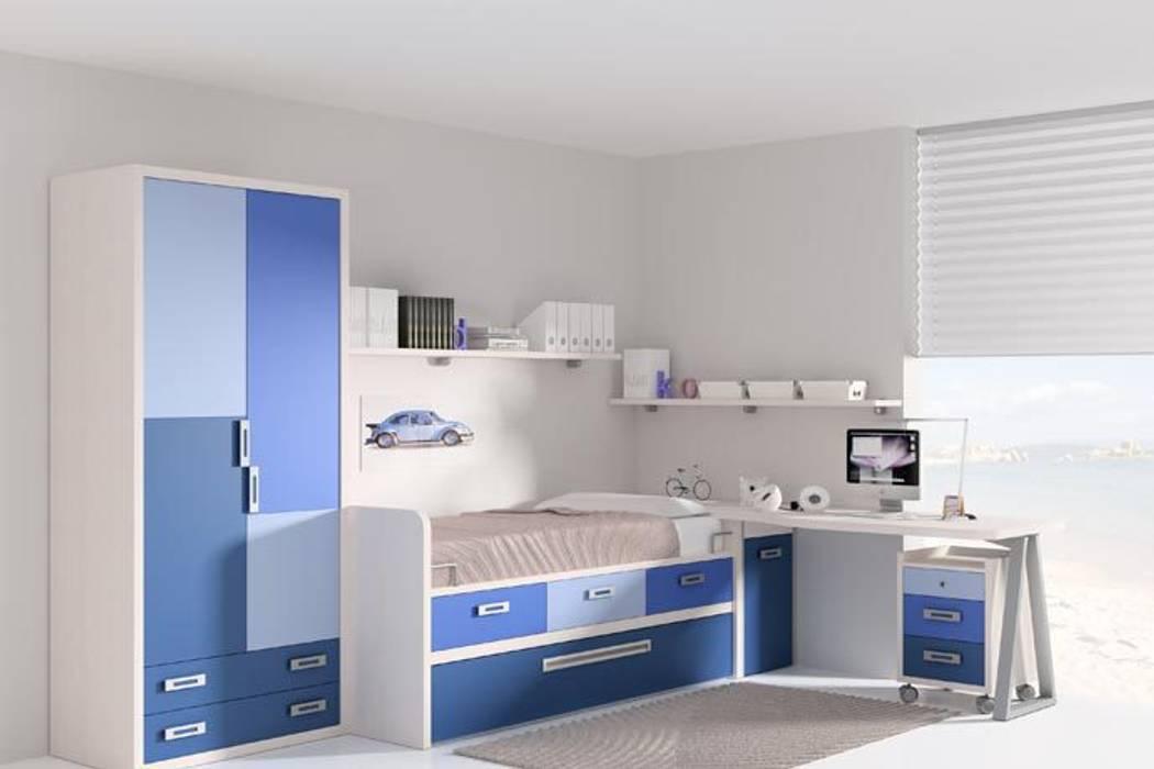 Dormitorio con cama nido, cajones y somier inferior de Sofás Camas Cruces Moderno