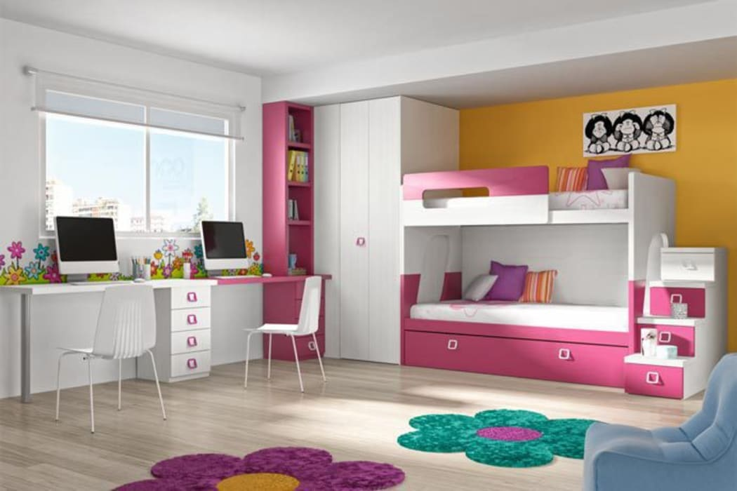 Habitación juvenil compartida con litera, blanca y fucsia : Habitaciones de niñas de estilo  de Sofás Camas Cruces