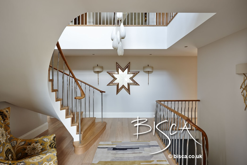 Semi Helix staircase Modern corridor, hallway & stairs by Bisca Staircases Modern