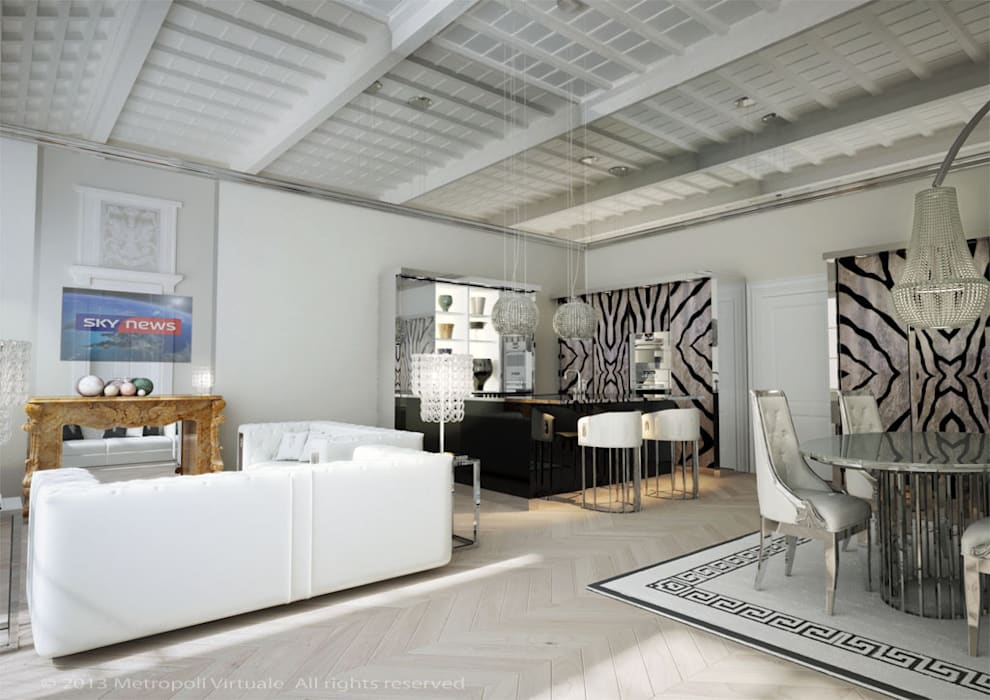 Residenza a ferrara: Soggiorno in stile in stile Eclettico di Atelièr di progettazione