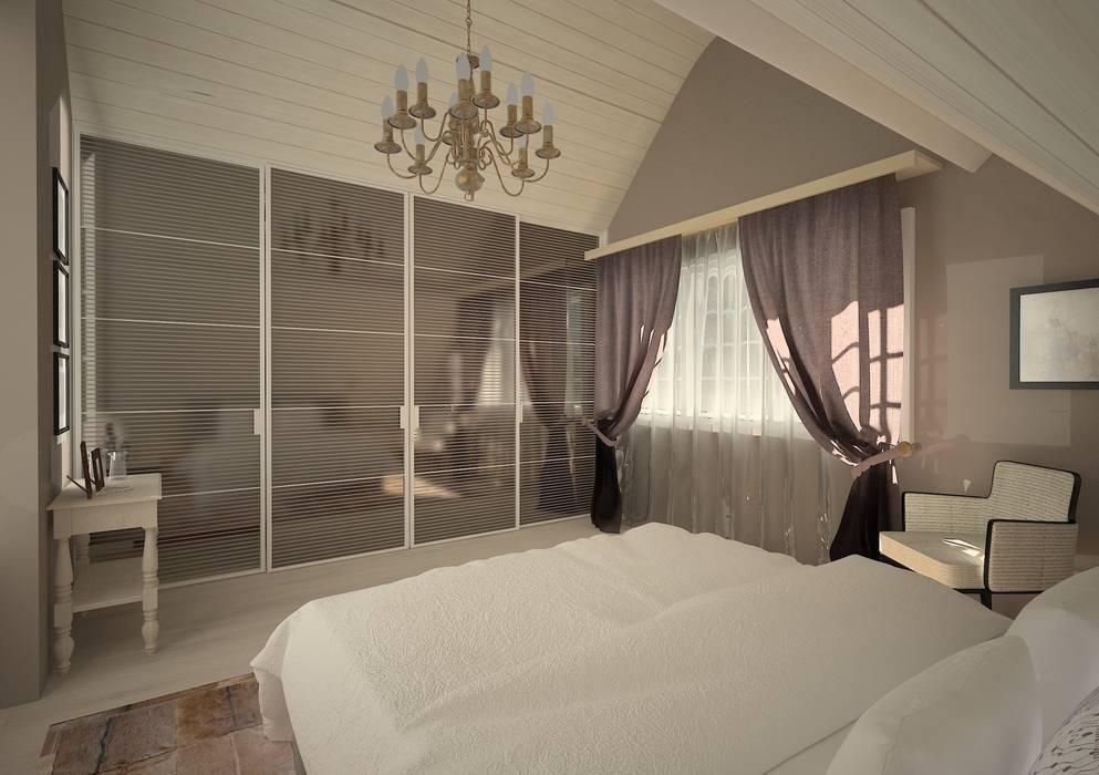 Chambre à couche moderne avec des éléments rustique : de ...