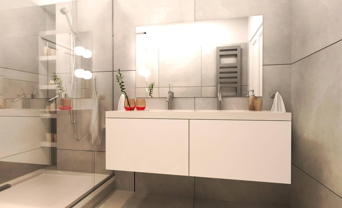 Amenagement salle de bain- meubles en corian blanc: Salle de bains de style  par Agence KP