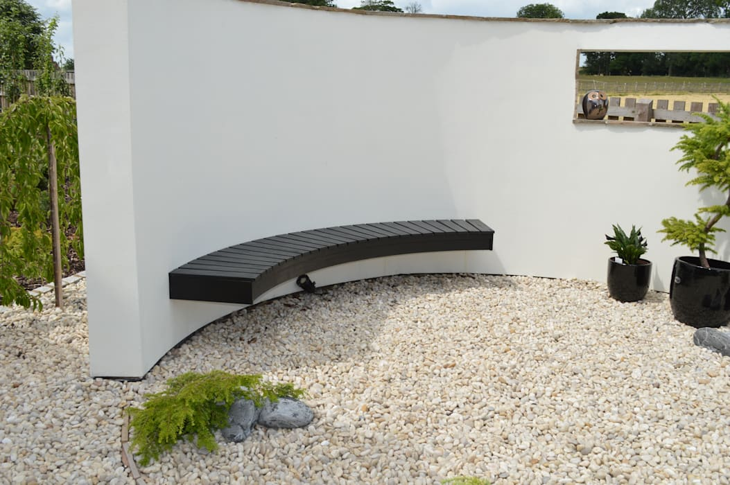 Suspended Wall Seat in Japanese Style Garden Unique Landscapes Asian style garden