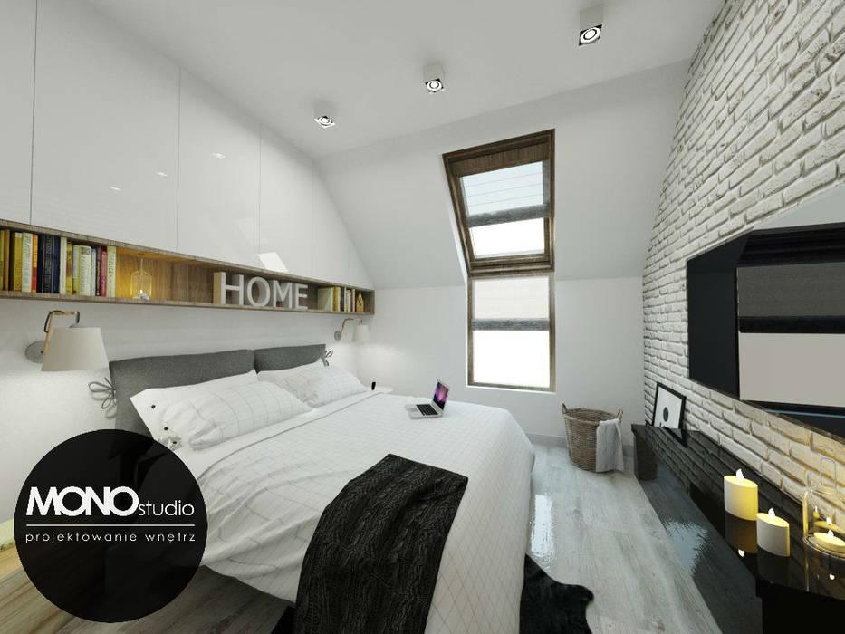 Delikatna sypialnia utrzymana w bieli Nowoczesna sypialnia od MONOstudio Nowoczesny