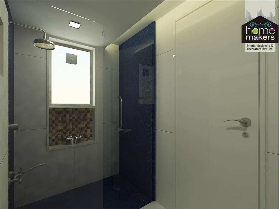 Blue Bathroom 3: modern Bathroom by home makers interior designers & decorators pvt. ltd.
