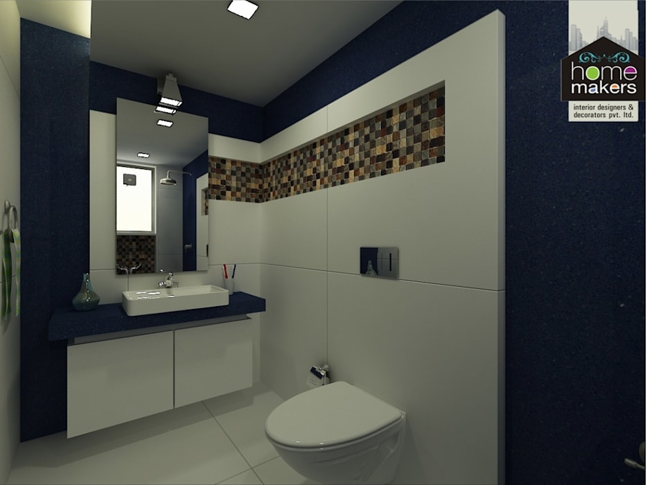 Blue Bathroom:  Bathroom by home makers interior designers & decorators pvt. ltd.