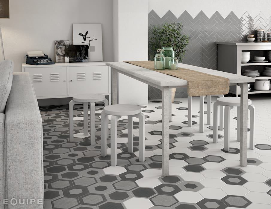 Hexatile Blanco, Decor Charmant 17,5x20: Comedores de estilo escandinavo de Equipe Ceramicas