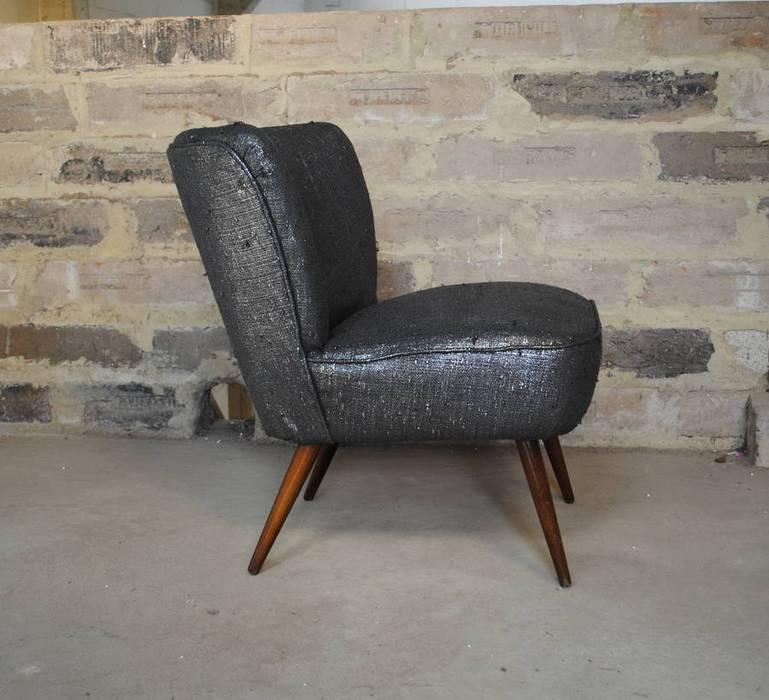 Gun Metal Boucle 1950's Cocktial Chair par Sketch Interiors Éclectique