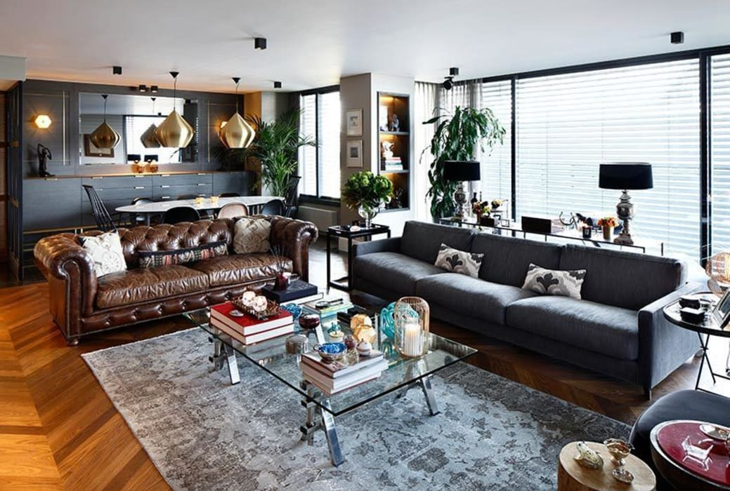 Lİvingroom Eclectic style living room by Esra Kazmirci Mimarlik Eclectic