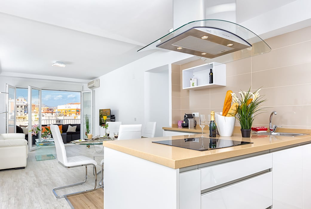 Cocina y salón Salones de estilo moderno de Espacios y Luz Fotografía Moderno