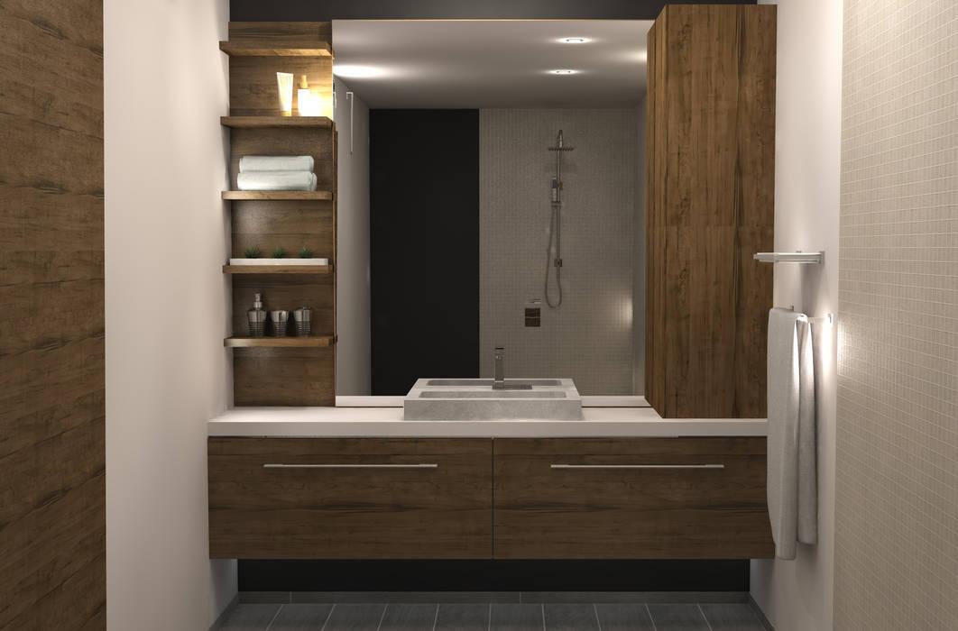 Badkamerkast 'Trap':  Badkamer door AD MORE design