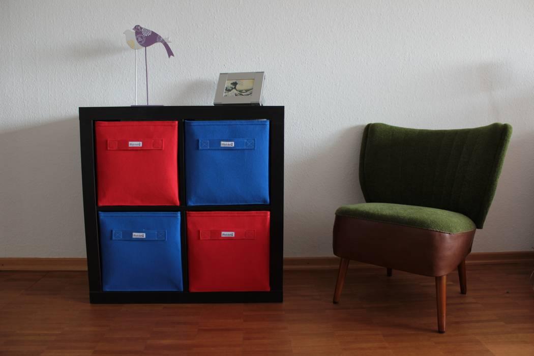 Regalkörbe aus Filz - Rot - Blau: modern  von Stich-haltig,Modern