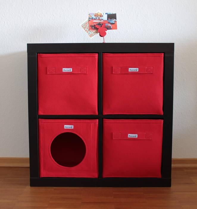 Regalkörbe aus Filz - Rot: modern  von Stich-haltig,Modern