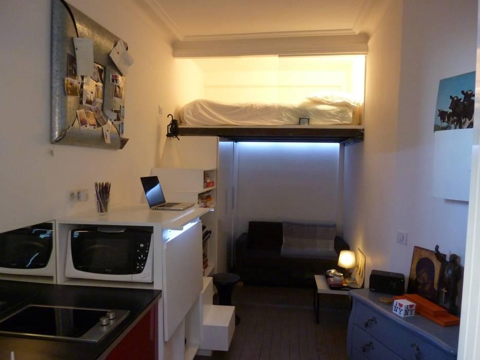 Studio de 14 m2 à Montmartre Chambre minimaliste par Antinomik design Minimaliste
