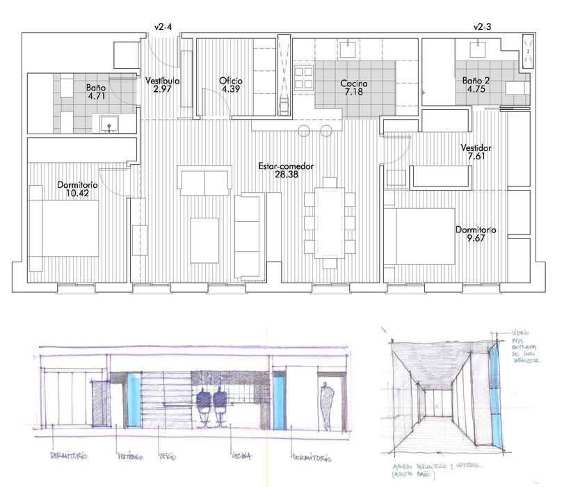PLANTA GENERAL DE DISTRIBUCION: Casas de estilo moderno de Rein / Martínez, ARQUITECTOS