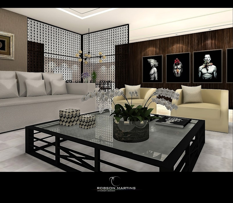 Living Room:  Living room by Robson Martins Interior Design