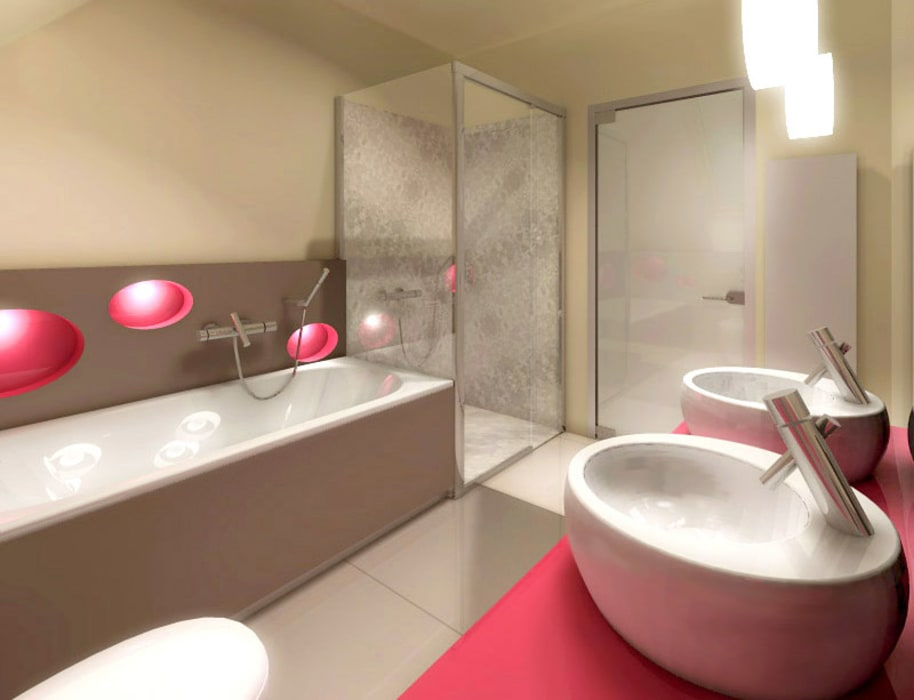 DOM W KOSZALINIE Nowoczesna łazienka od Studio Projektowe Projektive Nowoczesny
