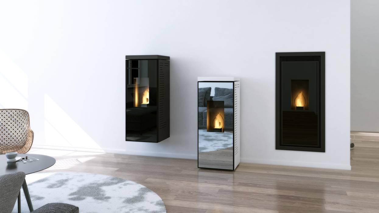 Stufe a pellet skia design: soggiorno in stile di maisonfire | homify