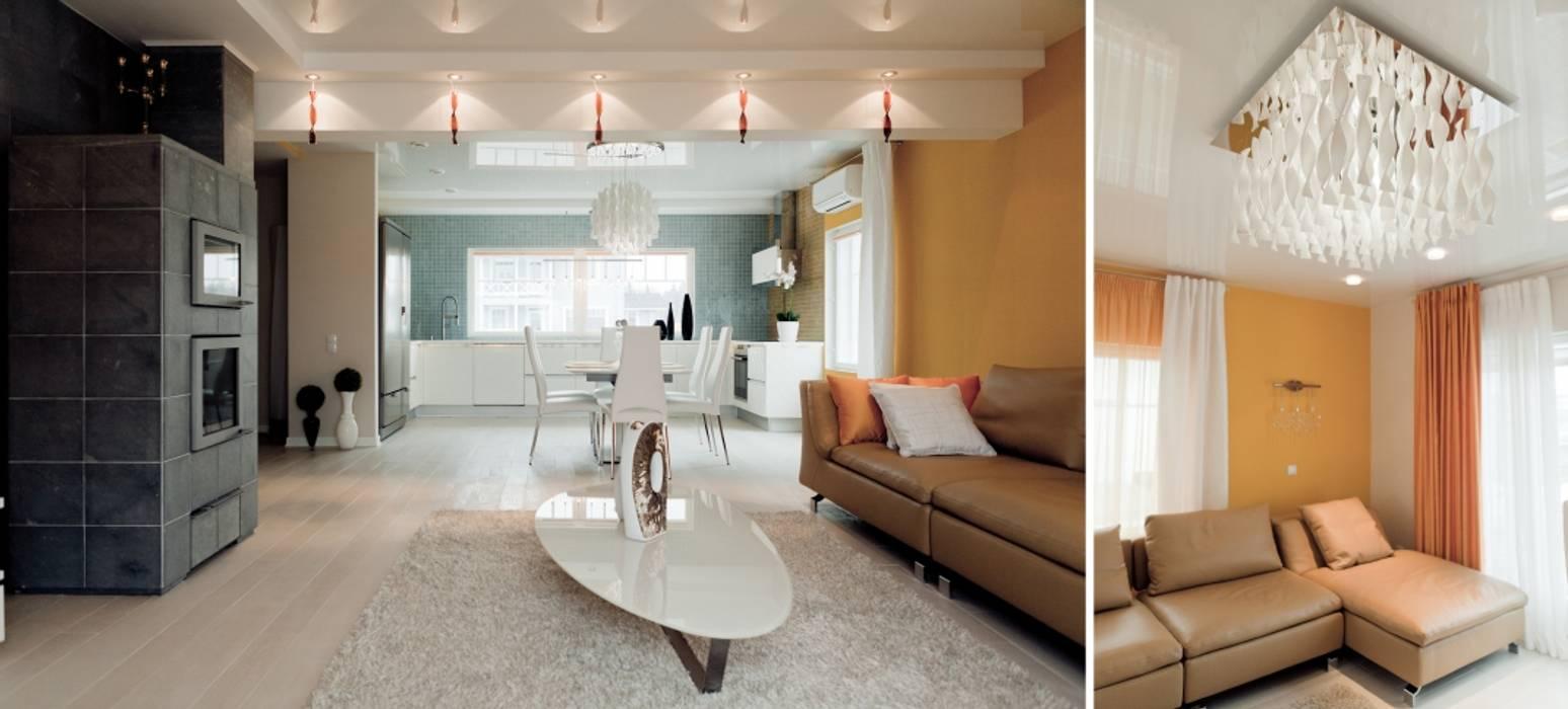 Индивидуальный дом : Гостиная в . Автор – Center of interior design, Эклектичный