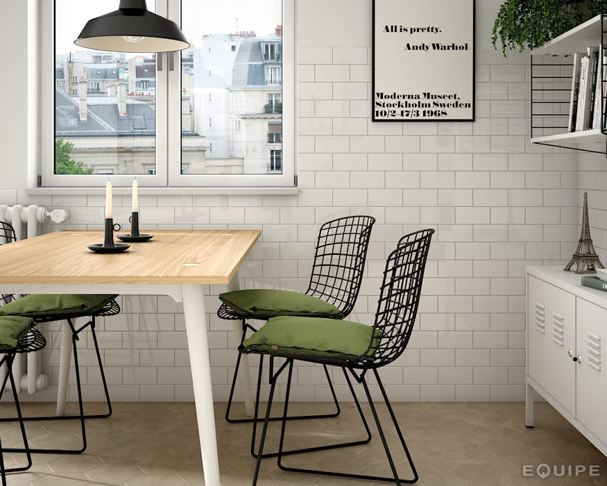Evolution Blanco Brillo 7,5x15 / Hexawood Natural 17,5x20: Comedores de estilo moderno de Equipe Ceramicas