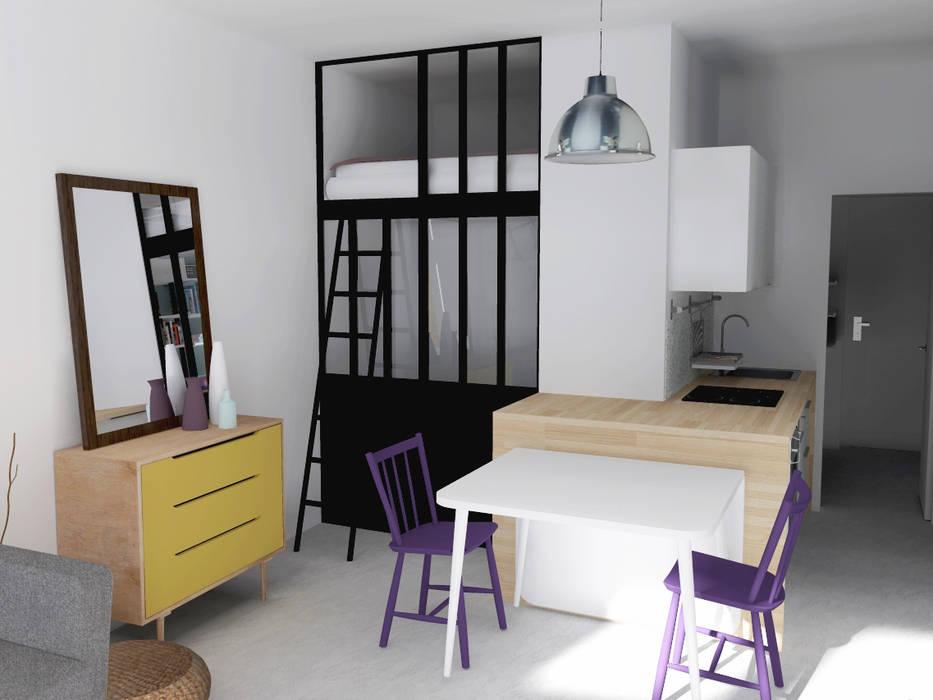 """Rénovation studio """"place Saint-Paul"""" Salon industriel par AÏDO Industriel"""
